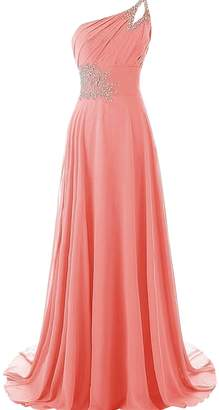 CutieTell One Shoulder Pleated Gradient Long Evening Prom Dresses Chiffon Wedding Party Gowns US