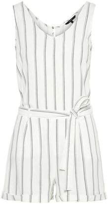 Vero Moda Striped Linen Blend Romper Playsuit - EXTRA SMALL - White/Grey