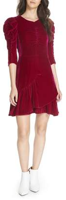 Rebecca Taylor Ruched Velvet Dress