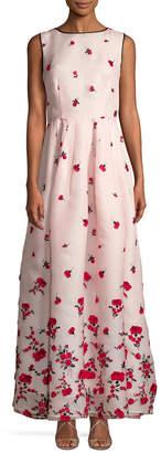 Oscar de la Renta Embroidered Floral Gown