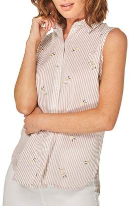 Dorothy Perkins Pink And White Striped Daisy Sleeveless Shirt