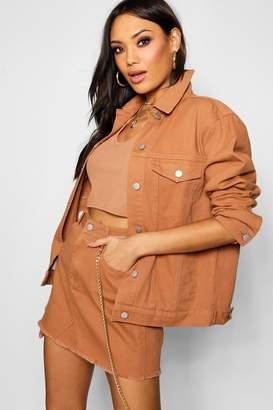 boohoo Tan Oversized Denim Jacket
