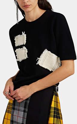 LE KILT Women's Woven-Patch Brushed Cashmere Top - Black