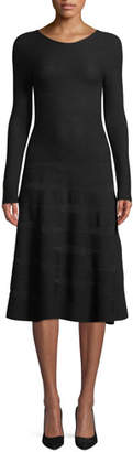 Emporio Armani Long-Sleeve Ottoman-Jacquard Wool A-Line Midi Dress