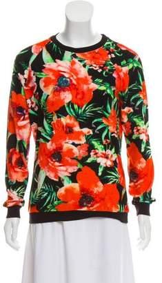 Balmain Floral Print Terry Cloth Top