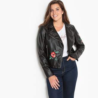 9347132e421 CASTALUNA PLUS SIZE Faux Leather Jacket with Embroidery