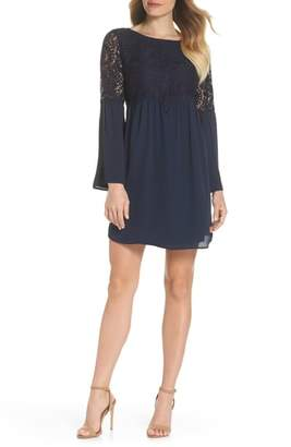 Chelsea28 Lace Top Bell Sleeve Shift Dress
