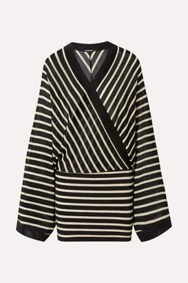 Balmain Wrap-effect Metallic Striped Stretch-jersey Mini Dress - Black