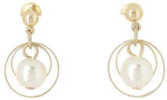 NEW Gregory Ladner Single Hoop Drop Earring With Faux Pearl Gold