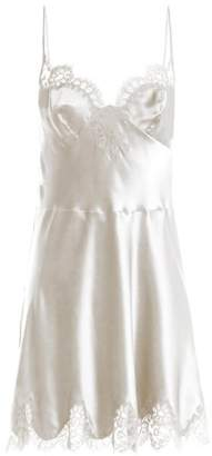 Carine Gilson Lace Trimmed Silk Satin Cami Dress - Womens - White
