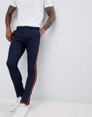 New Look skinny fit pants with side stripe in navy