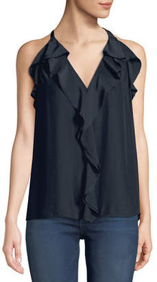 Ramy Brook Finley Sleeveless Ruffle Racerback Blouse