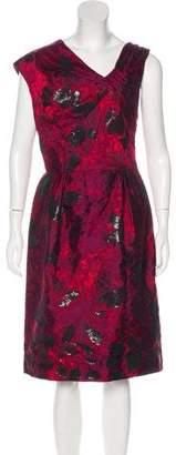 Oscar de la Renta Embellished Jacquard Dress