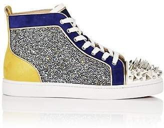 Christian Louboutin Men's No Limit Spiked Leather & Suede Sneakers - Blue