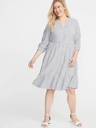 15e94cf6494 Old Navy Waist-Defined Plus-Size Striped No-Peek Shirt Dress
