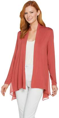 Logo By Lori Goldstein LOGO by Lori Goldstein Open Front Knit Cardigan with Chiffon Details