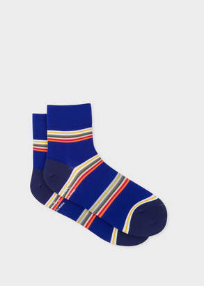 Paul Smith Mens Indigo Block-Stripe Cycling Socks