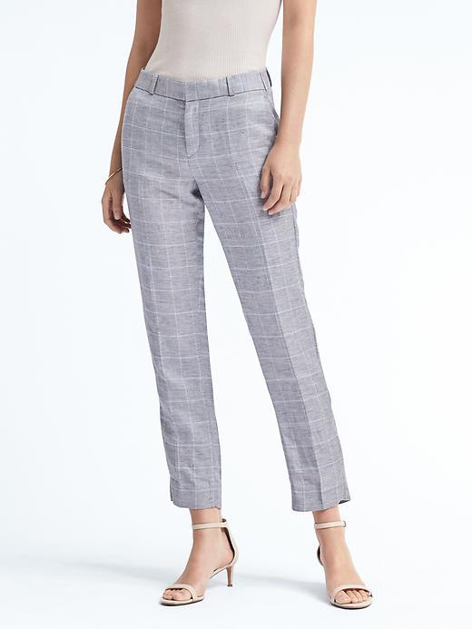 Banana Republic Avery-Fit Linen Check Pants