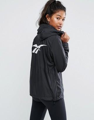 Reebok Classics Black Windbreaker Jacket With Back Print $103 thestylecure.com