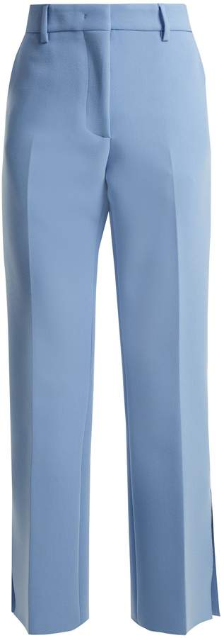 MSGM Mid-rise flared crepe trousers