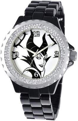 Disney Maleficent Womens Crystal-Accent Black Bracelet Watch