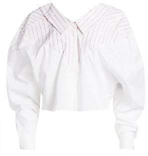 330460dc6d0da Unravel Project Women s Pinstripe Oversize Button-Down Shirt