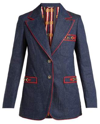 Gucci Wrinkled Denim Blazer - Womens - Dark Blue