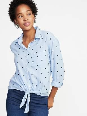 Old Navy Polka-Dot Tie-Hem Shirt for Women