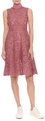 Valentino Sleeveless Heavy Lace Dress w/Scarf Tie