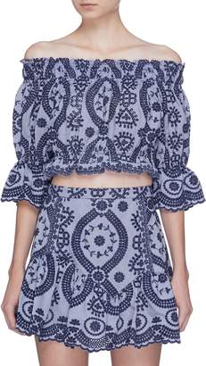 LoveShackFancy 'Carol' ethnic embroidered cropped off-shoulder top