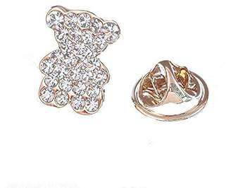 Grinde NO 2Pcs Lovely Bear Shape Brooch alloy and Rhinestone Brooch Clothes Decoration