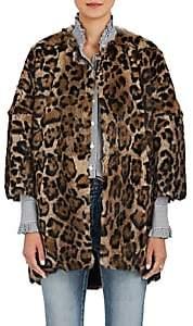 Barneys New York Women's Leopard-Print Rabbit-Fur Coat - Brown