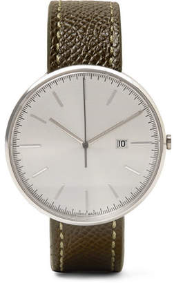 Uniform Wares M40 Stainless Steel And Pebble-Grain Leather Watch