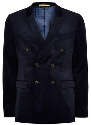 Topman Mens Navy Corduroy Double Breasted Ultra Skinny Suit Jacket
