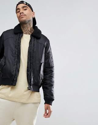 Black Kaviar Bomber Jacket In Black With Fleece Collar