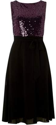 Dorothy Perkins Womens **Billie & Blossom Petite Purple Sequin Dress