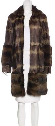 Dennis Basso Fox-Trimmed Fur Coat