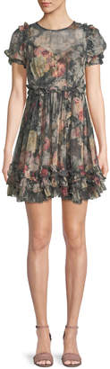 Zimmermann Sunny Floral-Print Silk Chiffon Mini Dress w/ Ruffled Trim