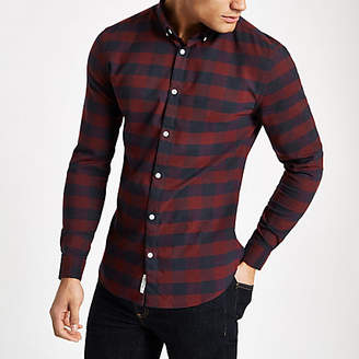 River Island Mens Dark Red check muscle fit long sleeve shirt