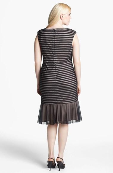 London Times Cable & Mesh Drop Waist Dress (Plus Size)