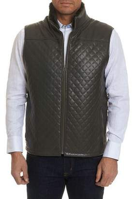Robert Graham Men's Fowler Quilted Leather Zip-Front Vest