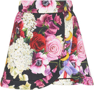 Dolce & Gabbana Banana-Embellished Floral Jacquard Mini Skirt