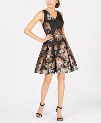 Tommy Hilfiger Floral-Print Jacquard Fit & Flare Dress