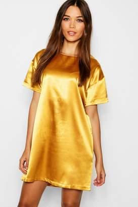 boohoo Satin Short Sleeve Shift Dress