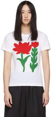 Comme des Garcons White Flower B Print T-Shirt