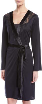 Hanro Ava Velvet-Trim Short Robe