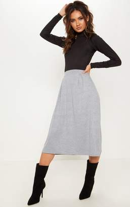 PrettyLittleThing Grey Jersey Floaty Midi Skirt