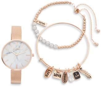 Women's Mesh Band Watch & Guardian Angel Charm Bracelet Set