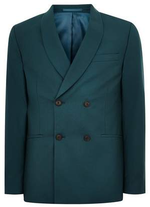 Topman Mens Green Teal Double Breasted Blazer