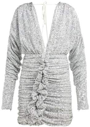ATTICO The Ruched Silver Sequinned Mini Dress - Womens - Silver